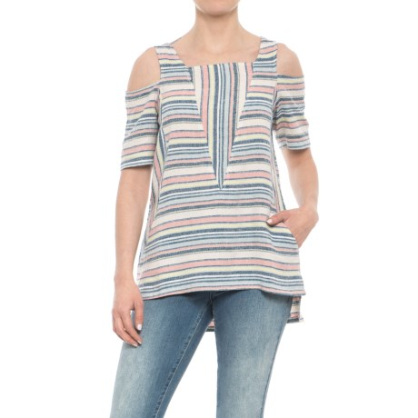 For Cynthia Cold Shoulder Striped Shirt - Short Sleeve (For Women) in Multi