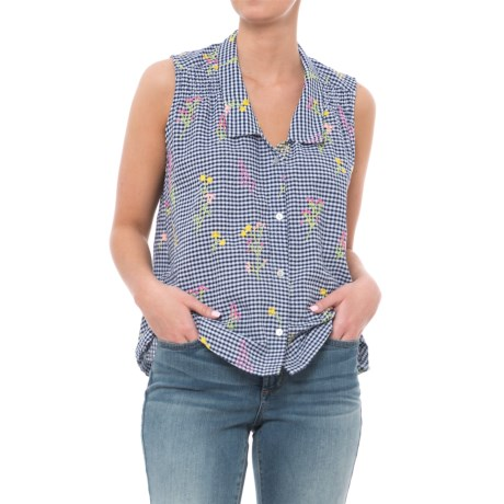 For Cynthia Gingham Embroidered Collar Shirt - Sleeveless (For Women) in Navy/White