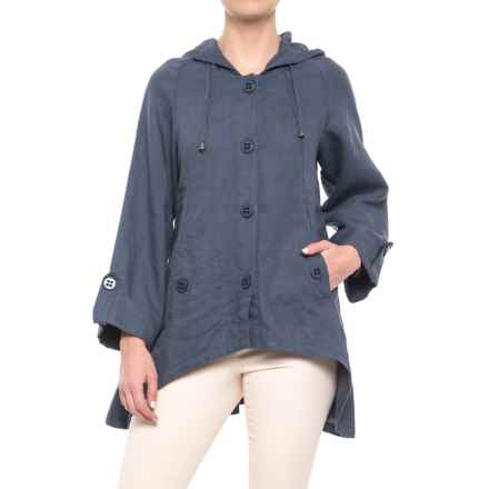 For Cynthia Hooded Button-Down Jacket (For Women) in Blue Steel - Closeouts