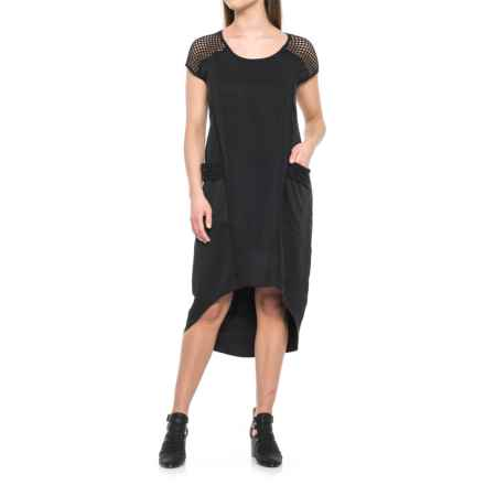 For Cynthia MESH SLEEVE ATHLEISURE DRESS (For Women) in Black - Closeouts