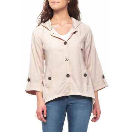 For Cynthia Sandstone Hooded Button-Up Jacket - Linen (For Women) in  Sandstone 53904bd1a