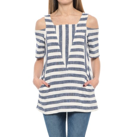 For Cynthia Striped Cold-Shoulder Tunic Shirt - Elbow Sleeve (For Women) in Navy/Natural