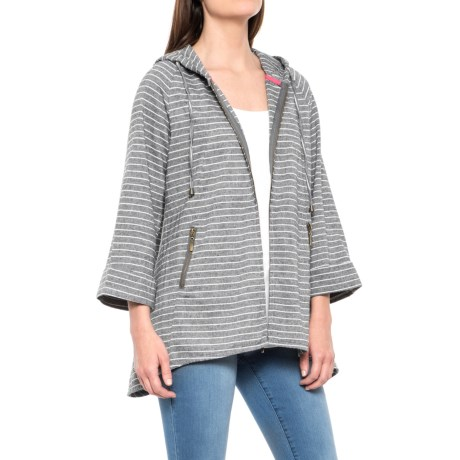 For Cynthia Striped Hooded Jacket - Linen-Cotton (For Women) in Gray/White