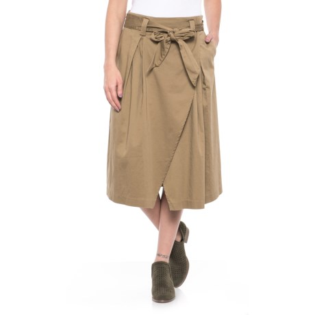 For the Republic Belted Faux-Wrap Skirt (For Women) in Camel
