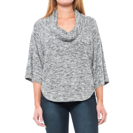 For the Republic Cowl Neck Shirt - 3/4 Sleeve (For Women) in Grey Heather Spacedye
