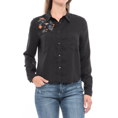 For the Republic Embroidered Hi-Lo Hem Shirt - Long Sleeve (For Women) in Black/Embroidery