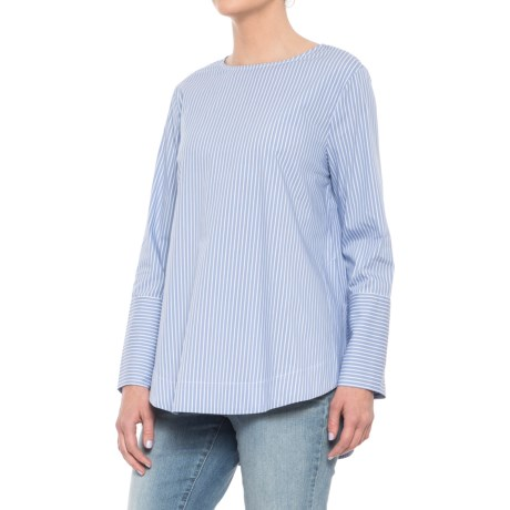 For the Republic High-Low Woven Blouse - Long Sleeve (For Women) in Blue/White Yard-Dyed Stripe