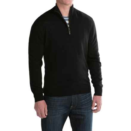 For The Republic Jersey-Knit Sweater - Merino Wool, Zip Neck (For Men) in Black - Closeouts