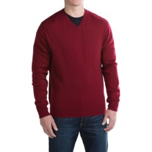 For the Republic Jersey V-Neck Sweater - Merino Wool (For Men) in Deep Claret - Closeouts