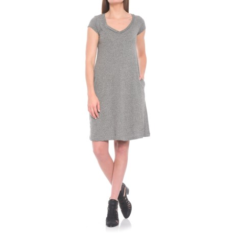 For the Republic Knit Jersey Pocket Dress- Short Sleeve (For Women) in Grey Heather