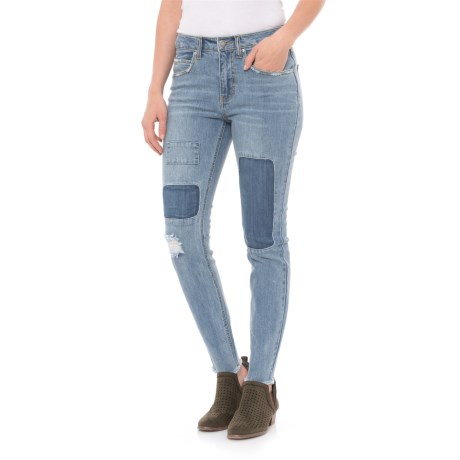 For the Republic Patched and Distressed Skinny Jeans (For Women) in Medium Wash Denim