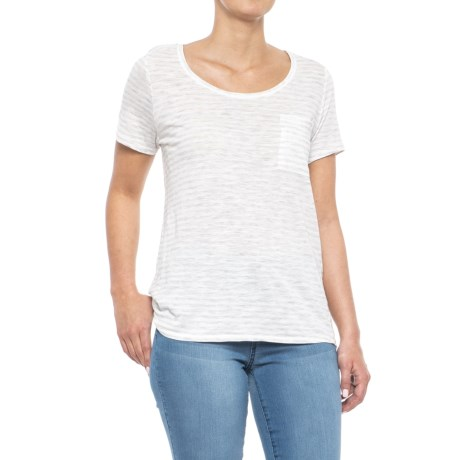 For the Republic Striped Scoop Neck Shirt - Short Sleeve (For Women) in Heather Grey/White