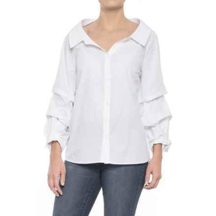 For the Republic Woven Caterpillar-Sleeve Shirt - 3/4 Sleeve (For Women) in White - Overstock