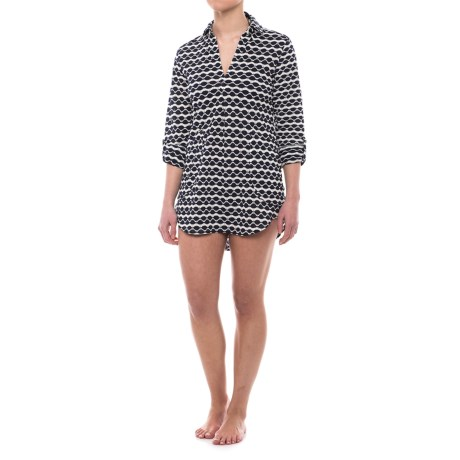 Forcynthia Beachwear Collared Cover-Up - 3/4 Sleeve (For Women) in Navy/White