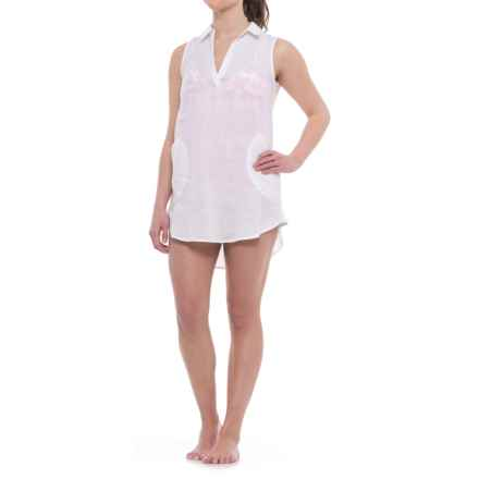 Forcynthia Beachwear Linen Cover-Up - Sleeveless (For Women) in White - Closeouts