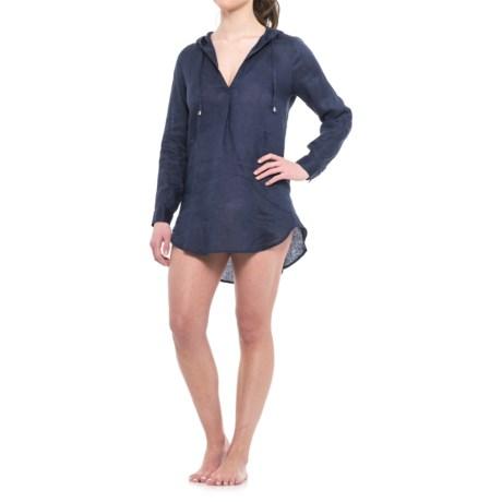 Forcynthia Beachwear Linen Hooded Cover-Up - Long Sleeve (For Women) in Navy