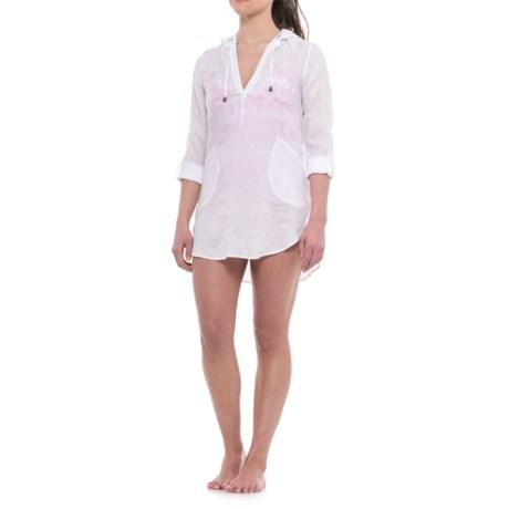 4932146859 Forcynthia Beachwear Linen Hooded Cover-Up - Long Sleeve (For Women) in  White