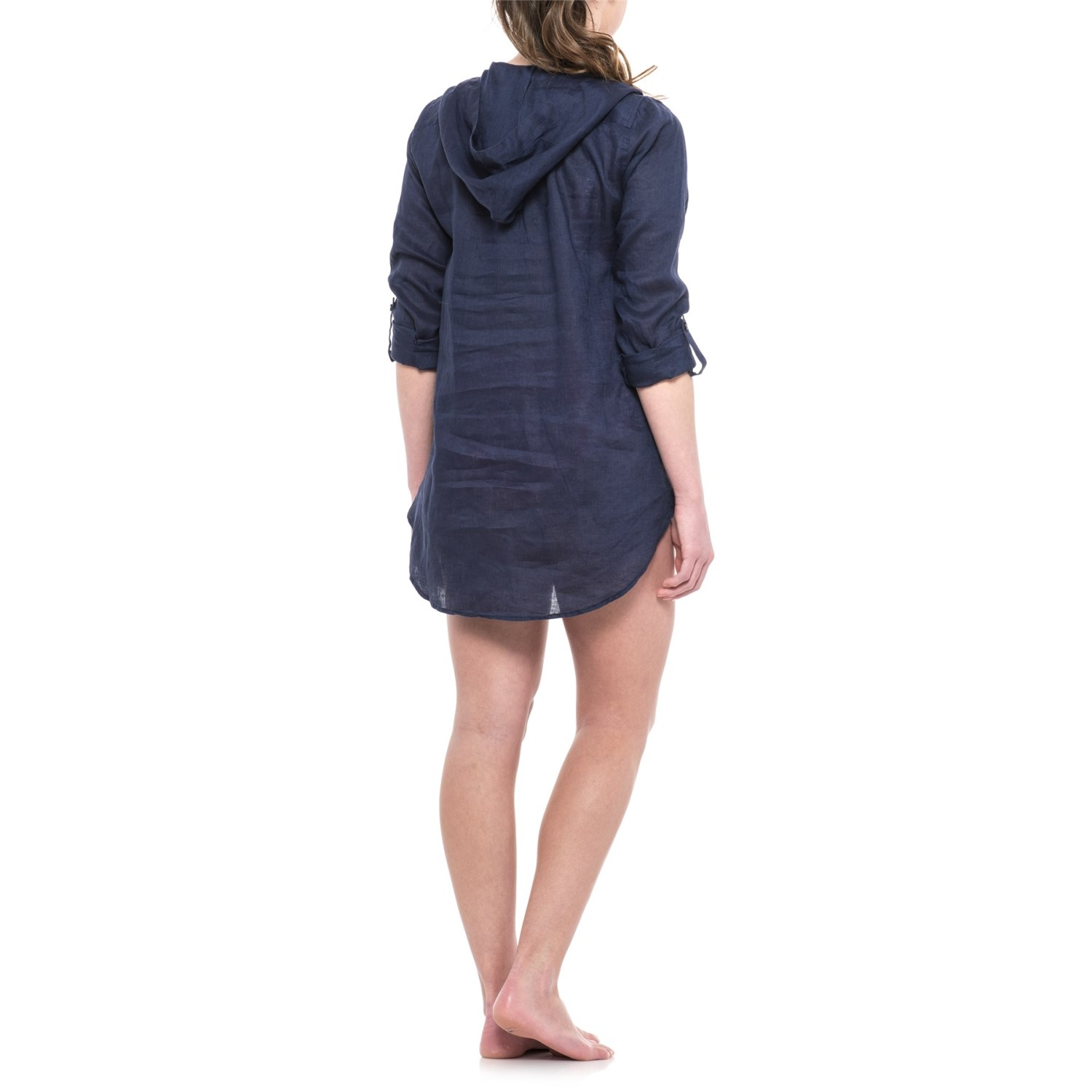 d5302ab8f9 Forcynthia Beachwear Linen Hooded Cover-Up - Long Sleeve (For Women)