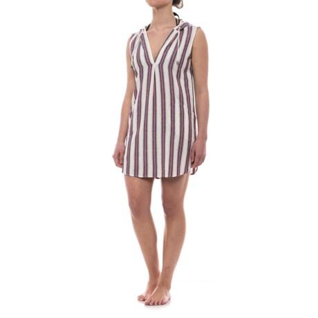 Forcynthia Beachwear Linen Hooded Cover-Up - Sleeveless (For Women) in White Multi