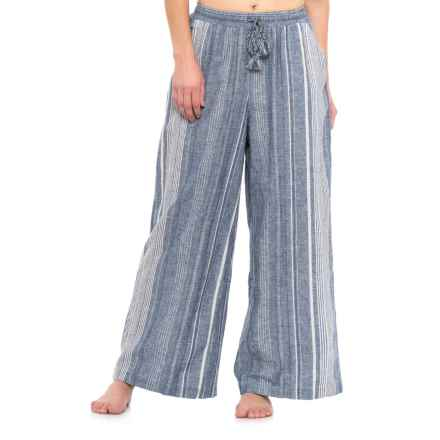 Forcynthia Beachwear Linen Pants (For Women) in Blue/White - Closeouts