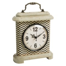Foreside Patterned Clock - Wood in Black / White - Closeouts