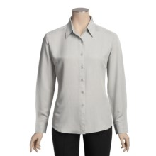Forest & Hue Mini Check Shirt - Long Sleeve (For Women) in Steel Grey - Closeouts