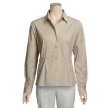 Forest & Hue Stretch Poplin Shirt - Reg and Plus Size, Long Sleeve (For Women) in Stone - Closeouts