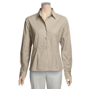 Forest & Hue Stretch Poplin Shirt - Reg and Plus Size, Long Sleeve (For Women) in Stone
