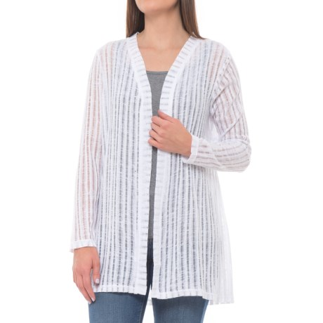 Forgotten Grace Crochet Back Summer Duster - Long Sleeve (For Women) in White