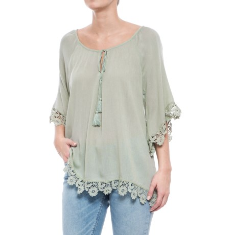 Forgotten Grace Crochet Shirt - Elbow Sleeve (For Women) in Mint
