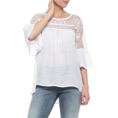 Forgotten Grace Crochet Shoulder Flutter Sleeve Shirt - 3/4 Sleeve (For Women) in White