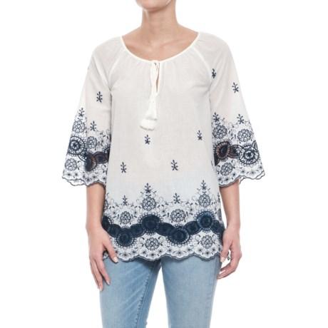 Forgotten Grace Embroidered Eyelet-Trim Shirt - 3/4 Sleeve (For Women) in White/Blue