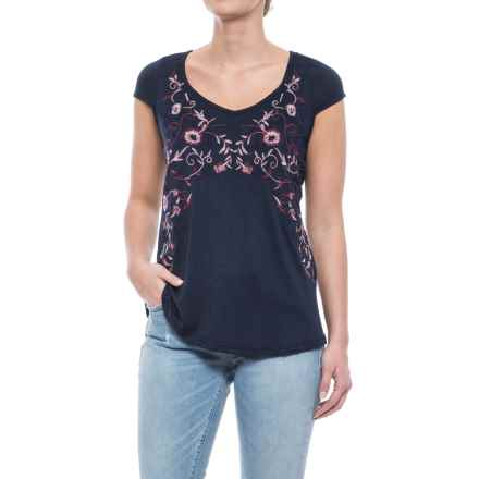 Forgotten Grace Embroidered Knit Shirt - Short Sleeve (For Women) in Navy - Closeouts