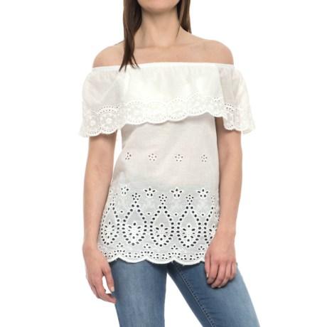 Forgotten Grace Off-the-Shoulder Eyelet Shirt - Short Sleeve (For Women) in White