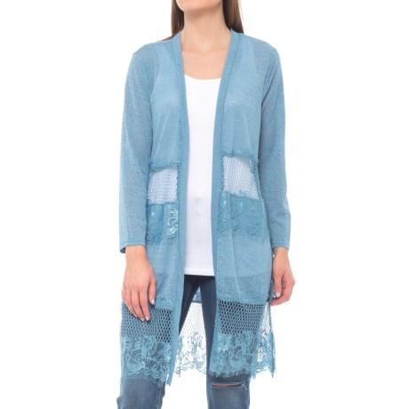 Forgotten Grace Tiered Lace Summer Duster - Long Sleeve (For Women) in Blue