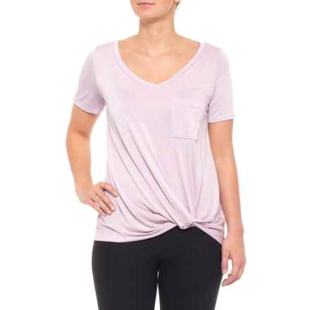 Fornia Knotted Front T-Shirt - Short Sleeve (For Women) in Dusty Lavender - Closeouts