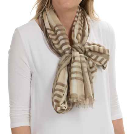 Forte Cashmere Batik-Print Scarf - Silk-Cashmere (For Women) in Khaki Multi - Closeouts