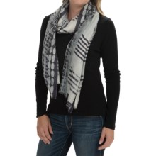 Forte Cashmere Batik-Print Scarf - Silk-Cashmere (For Women) in Pebble Multi - Closeouts