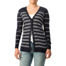 Forte Cashmere Boyfriend Cardigan Sweater - Merino Wool-Silk (For Women) in Navy Multi - Closeouts