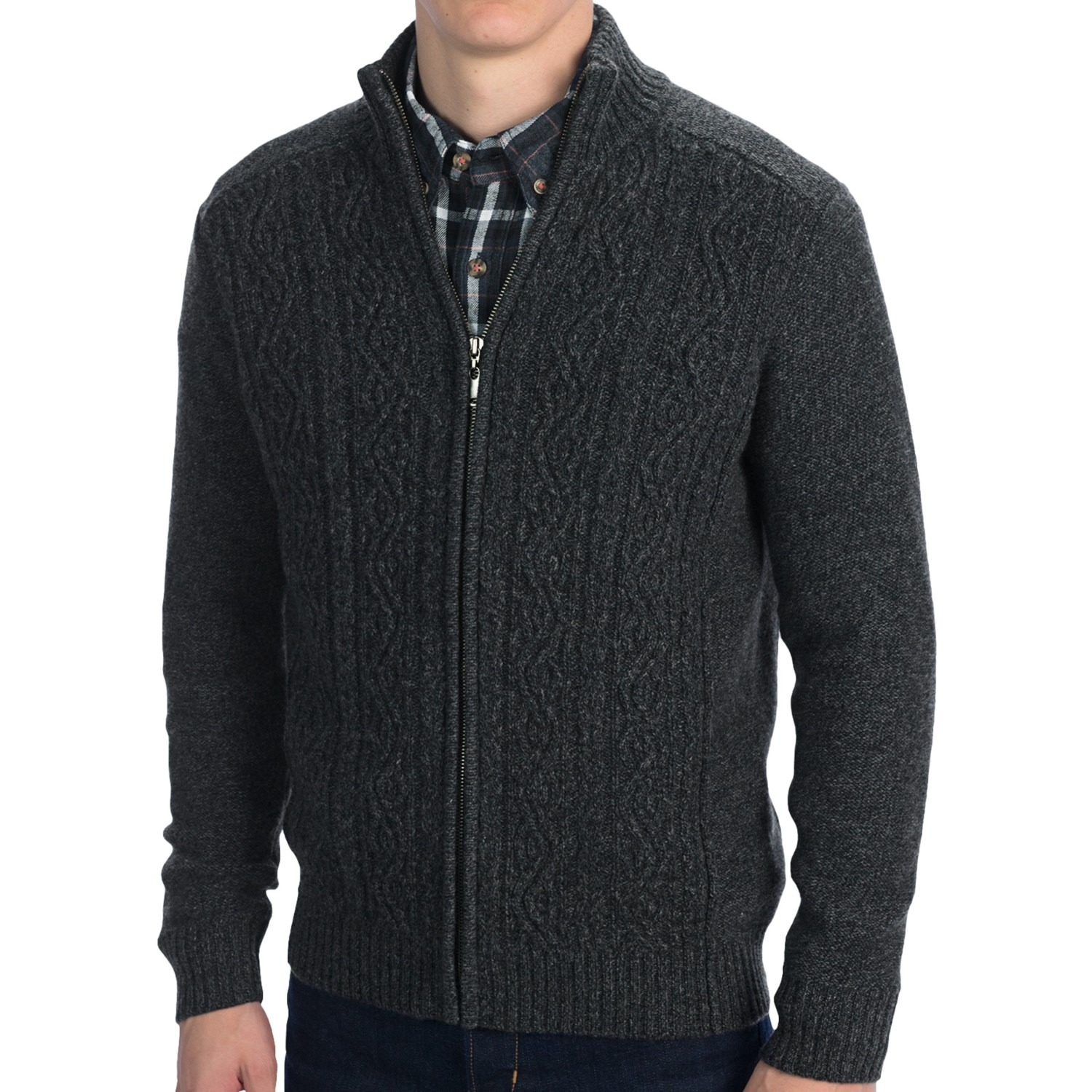 Mens Front Zip Sweater - Cashmere Sweater England