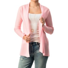 Forte Cashmere Circular Rib Cardigan Sweater (For Women) in Shell - Closeouts