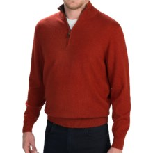 Forte Cashmere Classic Mock Neck Sweater - Zip Neck (For Men) in Cider - Closeouts