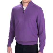Forte Cashmere Classic Mock Neck Sweater - Zip Neck (For Men) in Iris - Closeouts