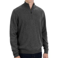 Forte Cashmere Classic Sweater - Zip Mock Neck (For Men) in Flannel - Closeouts