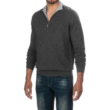 Forte Cashmere Classic Sweater - Zip Neck (For Men) in Charcoal - Closeouts