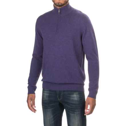 Forte Cashmere Classic Sweater - Zip Neck (For Men) in Damson - Closeouts