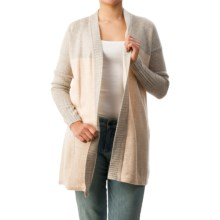 Forte Cashmere Color-Block Marl Cardigan Sweater (For Women) in Sandstone Multi - Closeouts