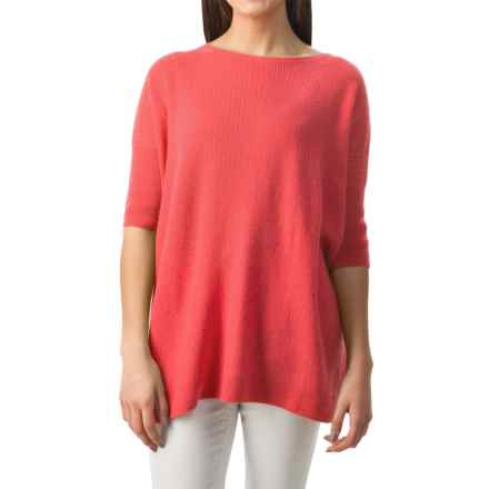 Forte Cashmere Cozy Oversized Sweater - 3/4 Sleeve (For Women) in Coral Reef - Closeouts