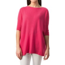 Forte Cashmere Cozy Oversized Sweater - 3/4 Sleeve (For Women) in Fuchsia - Closeouts