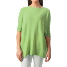 Forte Cashmere Cozy Oversized Sweater - 3/4 Sleeve (For Women) in Palm - Closeouts